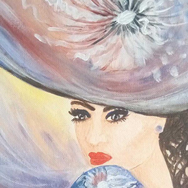 "Blue Flower, Acrylic Painting 9x12"" (24x30cm)"