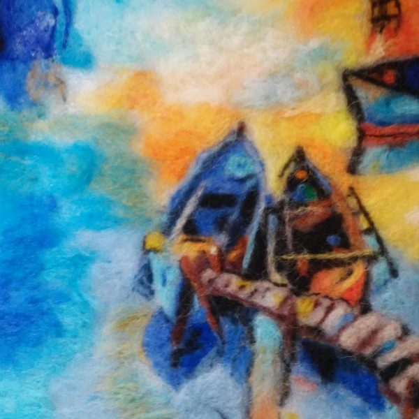 Lonely Boats, Wool Painting 11x9 in / 29x24 cm
