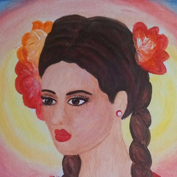"Girl with Folk Costume, Acrylic Painting 9x12"" (24x30cm)"