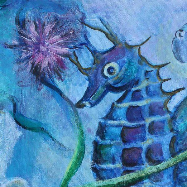 "Marine Fantasies, Acrylic Painting 10x10"" (25x25cm)"