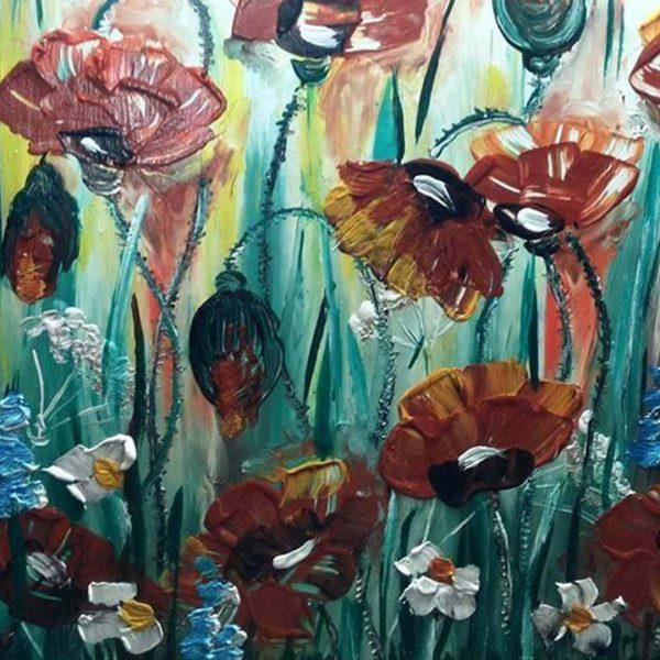 "Flowers, Acrylic Painting 14x14"" (35x35cm)"