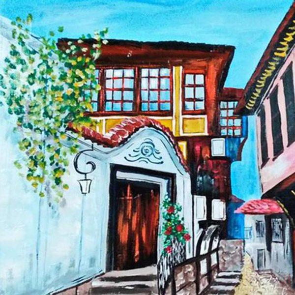 """Old Town Plovdiv, Mixed Painting 31x24"""" (80x60cm)"""