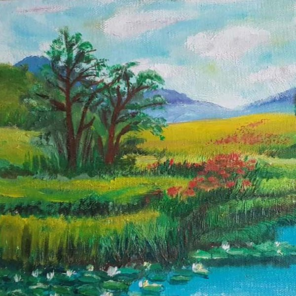 Lake with Lilies, Oil Painting by Rumyana Hristova