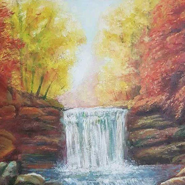 "Waterfall, Oil Painting 16x16"" (40x40cm)"