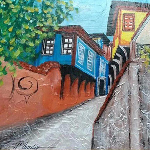 "Thracian Loom Plovdiv, Mixed Painting 25x17"" (65x45cm)"