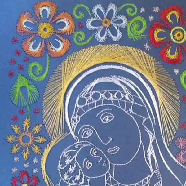 Madona, Handmade Embroidery 12x17 in / 30x42cm