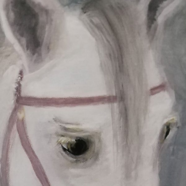 White Portrait, Tempera Painting 16x12 in / 40x30 cm