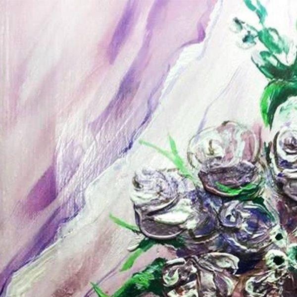 "Roses, Acrylic Painting 14x14"" (35x35cm)"