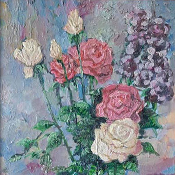 Roses in a Vase, Oil Painting by Veselin Nikolov