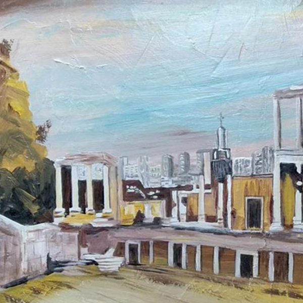 "Amphitheater Plovdiv, Acrylic Painting 25x17"" (65x45cm)"