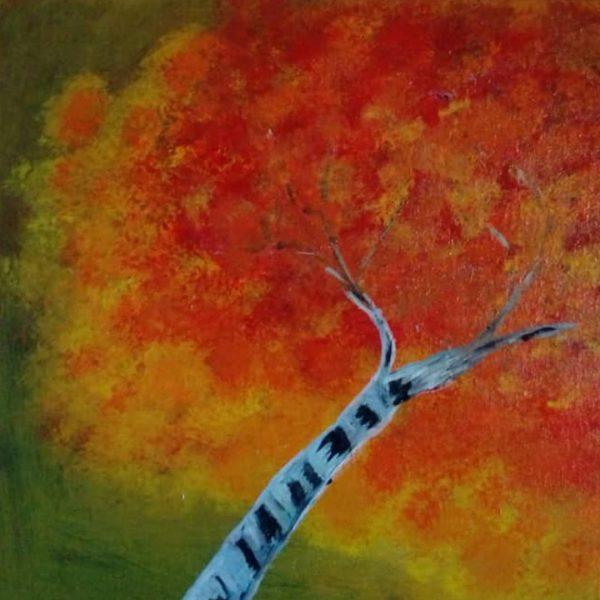 Golden Autumn, Acrylic Painting 11x15 in / 27x37 cm