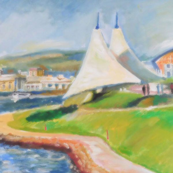 "Cardiff Bay, Acrylic Painting 27x35"" (69x89cm)"