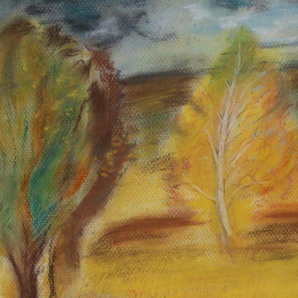 """Autumn Landscape, Crayon Painting 12x16"""" (31x41cm)"""