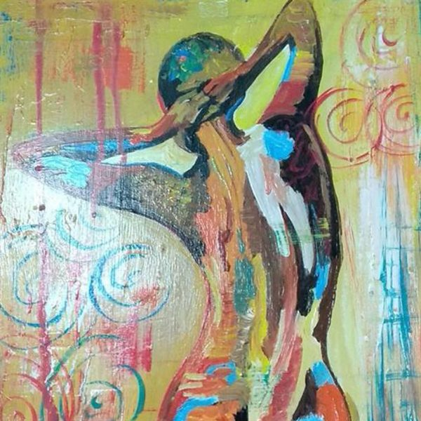 """Lady of Spring, Mixed Painting 16x22"""" (40x55cm)"""