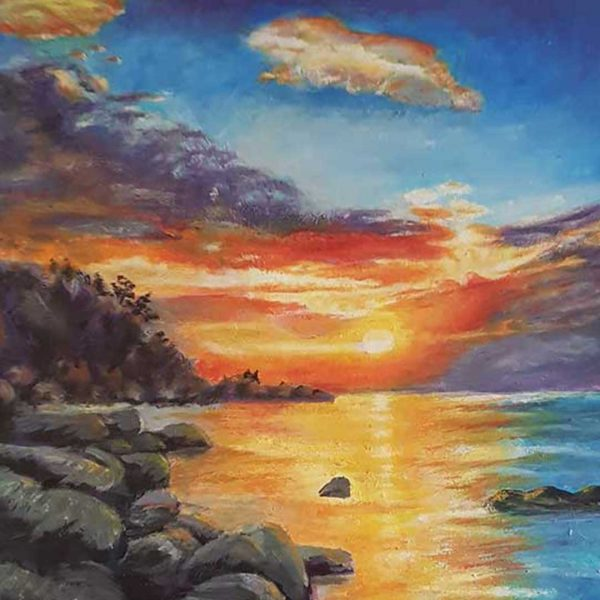 "Sea Sunset, Oil Painting 20x28"" (50x70cm)"