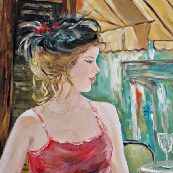 "Lady in Paris, Acrylic Painting 31x24"" (80x60cm)"