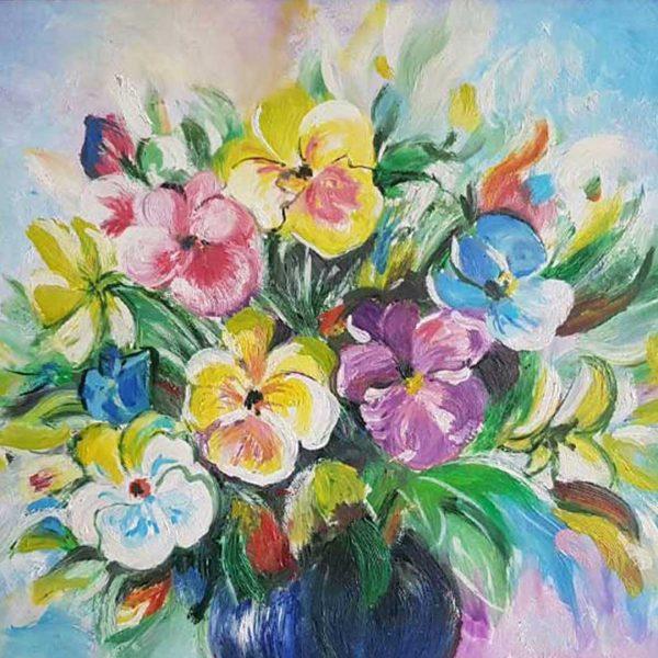 """Violets, Oil Painting 13x10"""" (34x26cm)"""