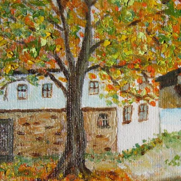 """Village Well, Oil Painting 5x7"""" (12x17cm)"""