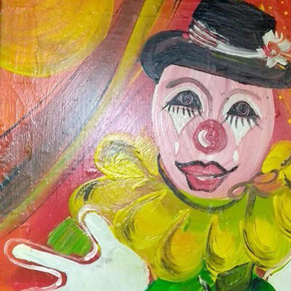 "Joker, Mixed Painting 22x22"" (55x55cm)"