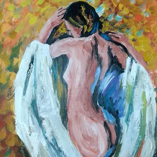 """Lady of the Fall, Mixed Painting 16x22"""" (40x55cm)"""