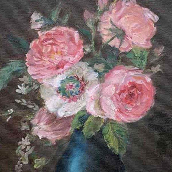 Ancient Book And Flowers, Oil Painting by Neda Nacheva