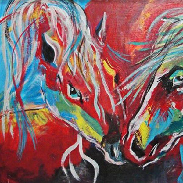 "Horrses, Mixed Painting 43x24"" (110x60cm)"