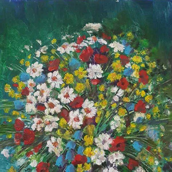 "Field Flowers, Oil Painting 12x10"" (31x26cm)"