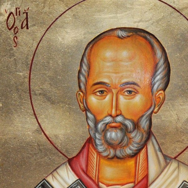 Saint Nicholas, Tempera Painted Christian Icon by Iva Donkova