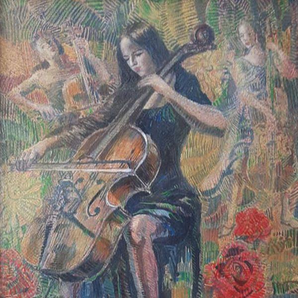 Cellists, Acrylic Painting by Veselin Nikolov