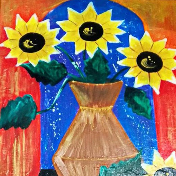 """Sunflowers, Mixed Painting 18x26"""" (45x65cm)"""