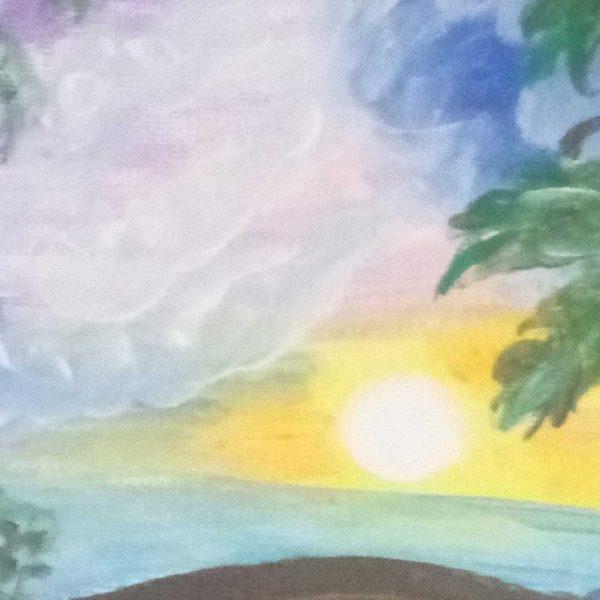 "Paradise Bay, Acrylic Painting 9x12"" (24x30cm)"