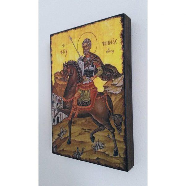"""Saint Menas, Christian Icon 6x4"""" (16x11cm) - Artastate"""
