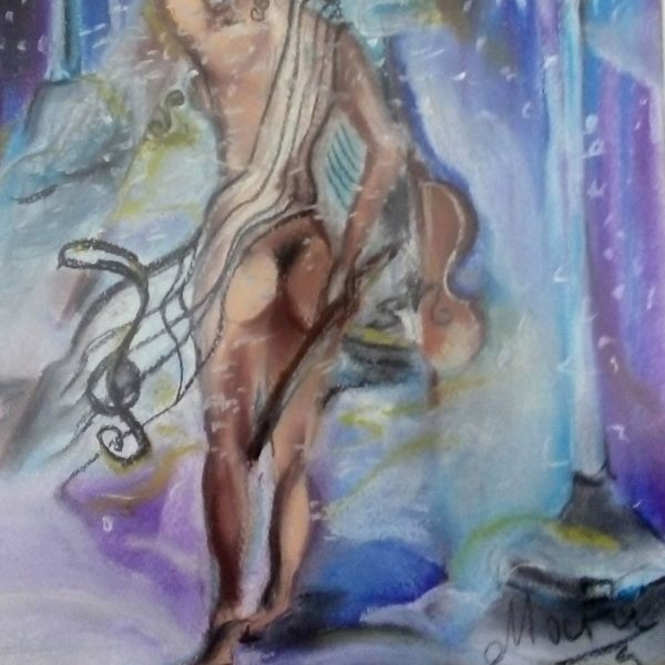 The Warmth of Music, Dry Pastel Painting by Magdalena Peycheva