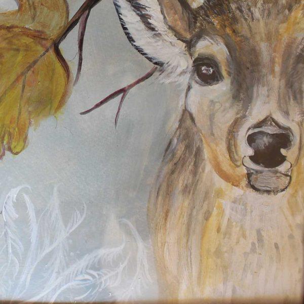 "Deer, Acrylic Painting 13x13"" (32x32cm)"