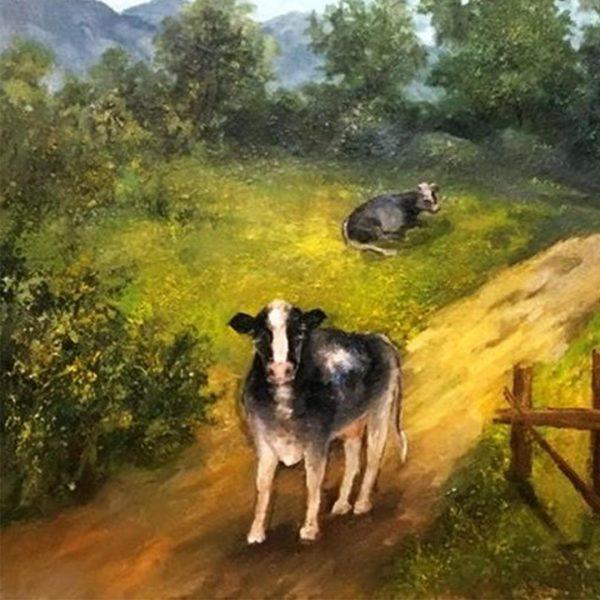 Cows Grazing, Oil Painting by Elena Velichkova