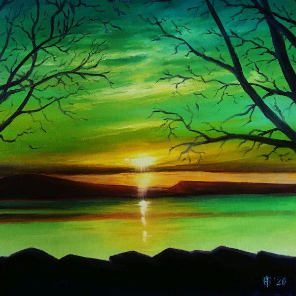 Landscape in Green, Oil Painting by Elena Velichkova