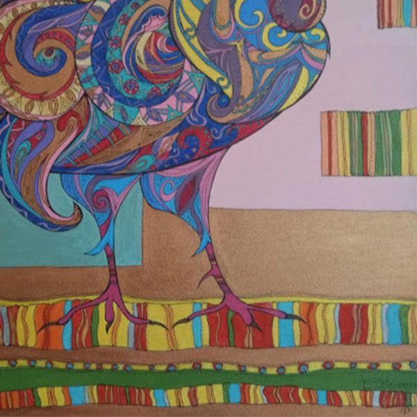 """Rooster, Acrylic Ink Painting 22x12"""" (55x46cm)"""
