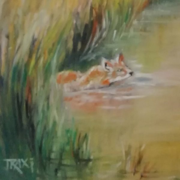 Heat by the River, Oil Painting 16x16 in / 40x40 cm