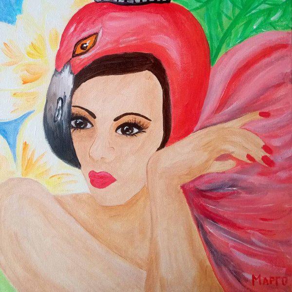 "Flamingos, Acrylic Painting 12x16"" (30x40cm)"