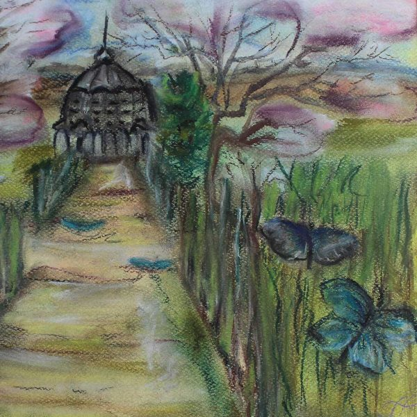 """Butterfly Pavilion, Crayon Painting 12x13"""" (31x41cm)"""