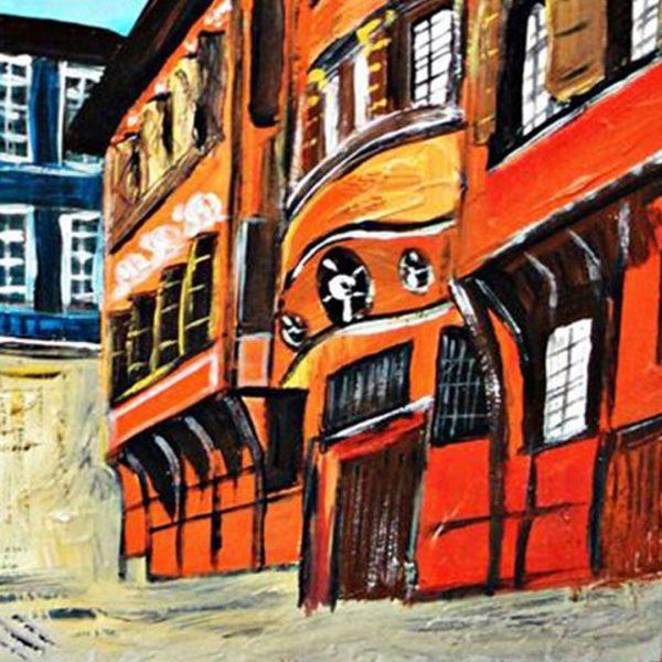 "Hissar Kapia Plovdiv, Mixed Painting 14x12"" (35x30cm)"