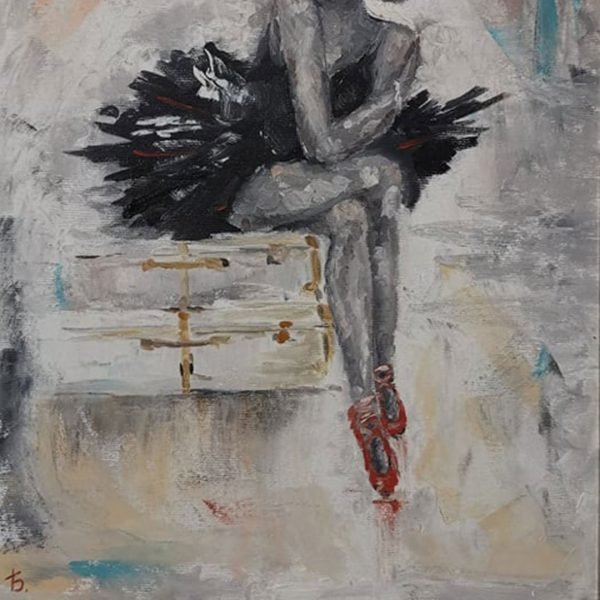 Black and White Ballerina, Oil Painting 19x24 in / 47x61 cm