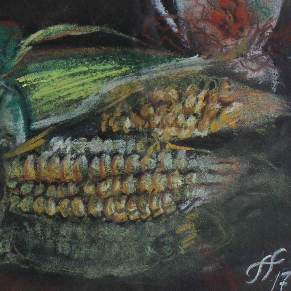 "Still Life with Corn, Crayon Painting 13x13"" (32x32cm)"
