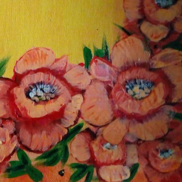 Poppy Field, Acrylic Painting 13x11 in / 32x27 cm