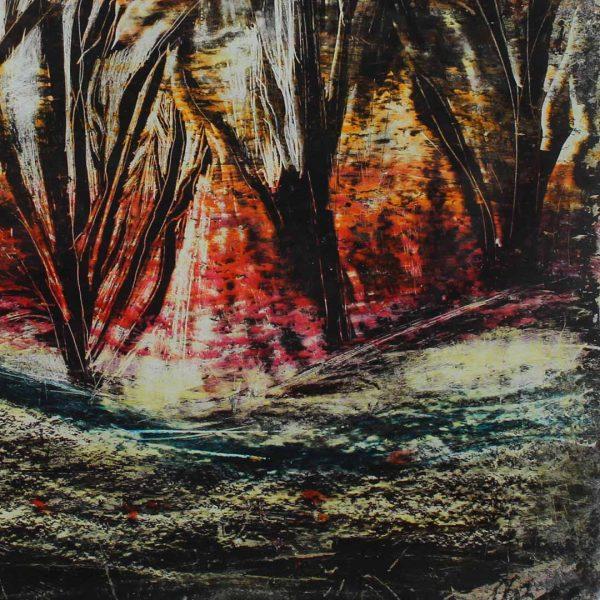 """Landscape, Oil pastels Painting 13x13"""" (32x32cm)"""