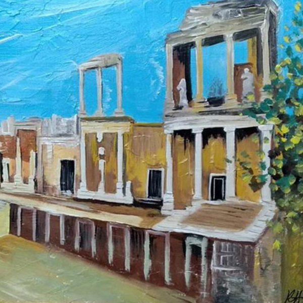 """Amphitheater Plovdiv, Mixed Painting 18x26"""" (45x65cm)"""