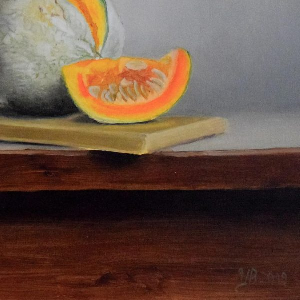 Still Life with Pumpkin, Oil Painting 16x13 in / 41x33 cm