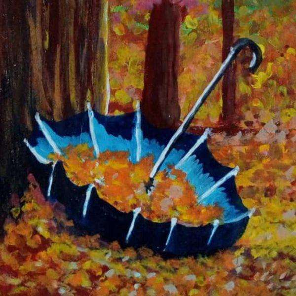 The Lone Umbrella, Acrylic Painting 17x13 in / 42x33 cm
