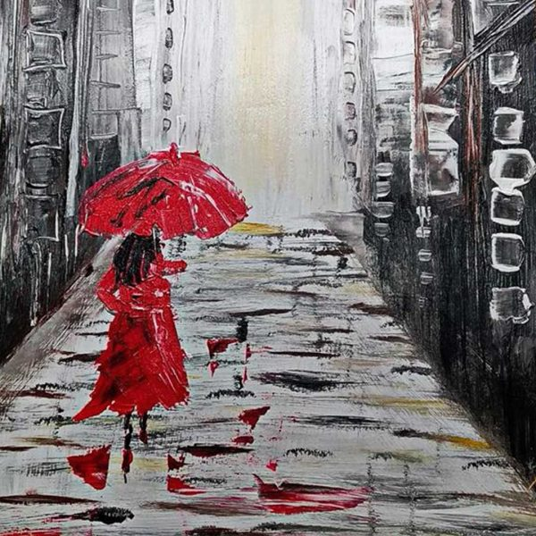 """Lady in Red, Mixed Painting 22x30"""" (55x75cm)"""