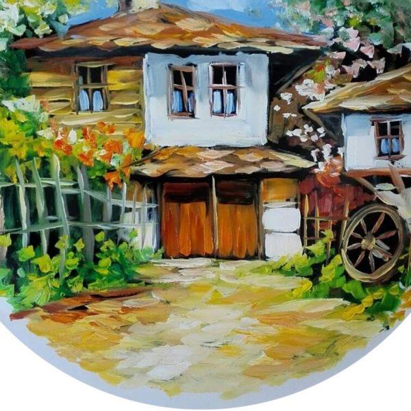 Rural Landscape, Painted Plate by Milena Kamburova